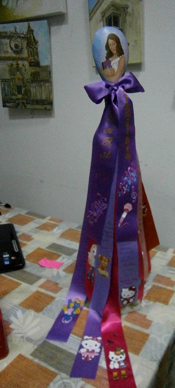 Colher pau Finalista com fitas - Violeta