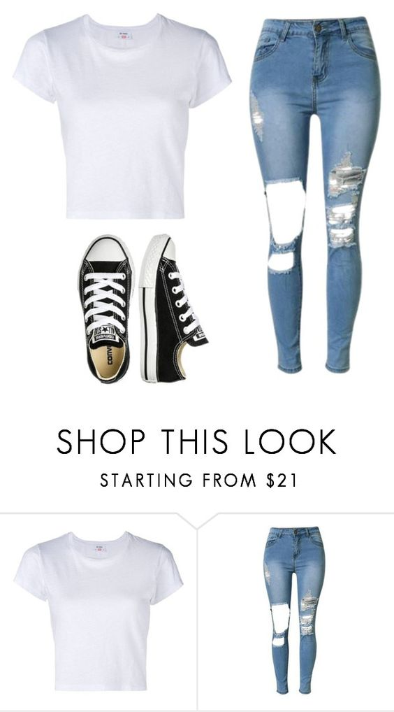 """""""Out and about"""" by armanishaidixon on Polyvore featuring RE/DONE and Converse"""