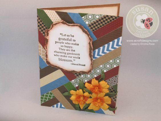 The herringbone background could be a great masculine card, add the flowers for a feminine touch.