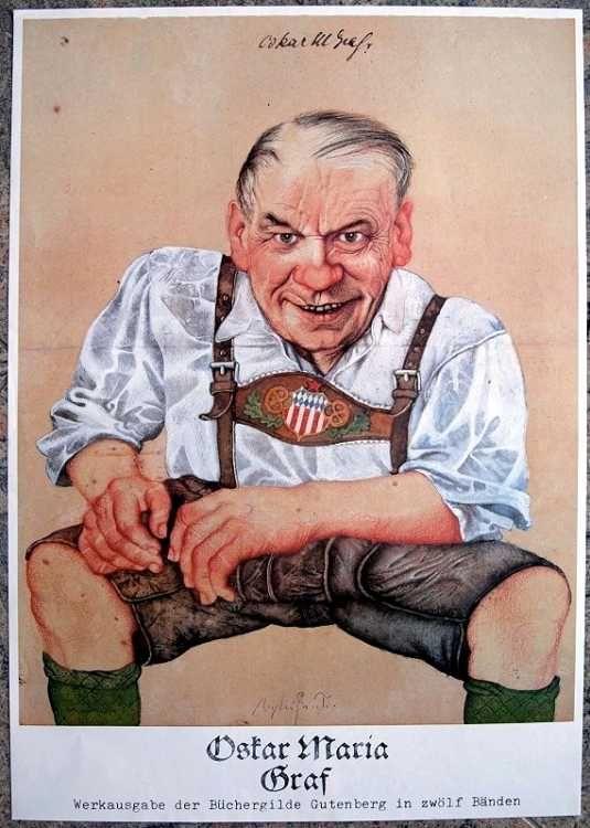 Michael M. Prechtl (1926-2003): Oskar Maria Graf in Lederhose; Graf (1894-1967) war sozialistischer bayerische Schrifsteller.