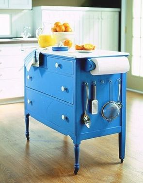 cute DIY island made from a dresser.