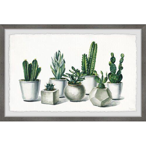 East Urban Home Ceramic Potted Cactus By Parvez Taj Framed