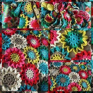 Japanese Flower Crochet Afghan Pattern : Japanese flower scarf by Elizabeth Cat Crochet Crush ...