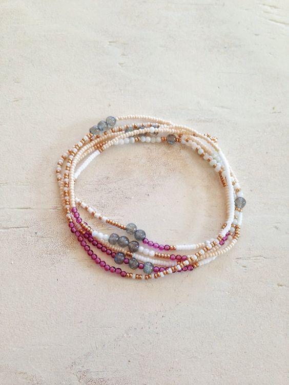 Beaded Wrap Bracelet Seed Bead Jewelry Beaded by GummyRubyJewelry