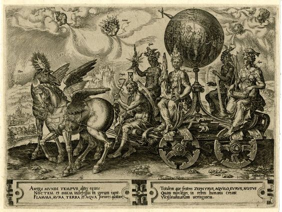 """The triumph of the world; a chariot containing a large globe """"terra"""" surrounded by personifications of the four elements; the chariot is driven by Time (Tempis) with his attributes and two winged horses representing Day (Dies) and Night (Nox); after Heemskerck.  1564 Engraving"""