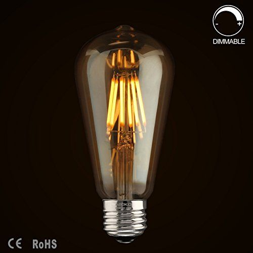 Wawui Led Light Edison Bulbs Dimmable Warm White 2200k E26 St64 Amber Gold Glass Bulb Antique Vintage Style 60 Watt Equivalent Amber Glass 4 Pack Glass Bulbs Industrial Light Fixtures Gold Glass
