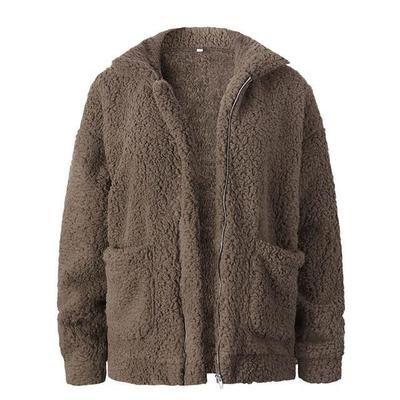 Nadafair plus size fleece faux shearling fur jacket coat