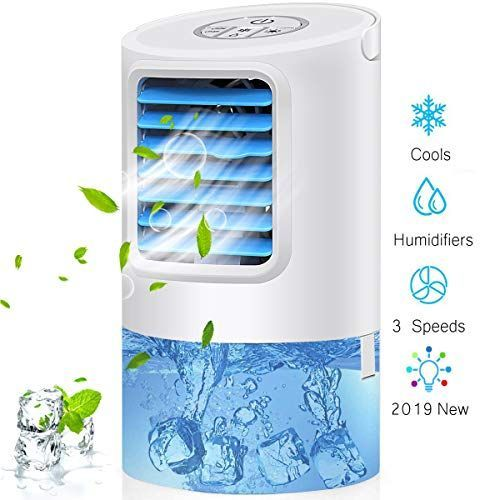 Portable Humidifier Air Conditioner Fan Mini Personal Evaporative Air Cooler Small Table Top Fan With 7 Colors Le In 2020 With Images Evaporative Air Cooler Air Cooler Humidifier