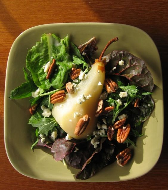 last call for corn: poached pear and bleu cheese salad with pear vinaigrette