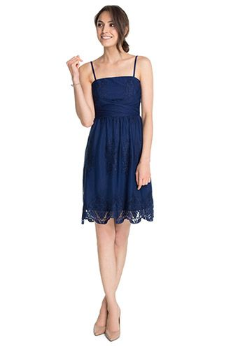 Esprit / Corsagen-Kleid aus Tüll mit Spitze