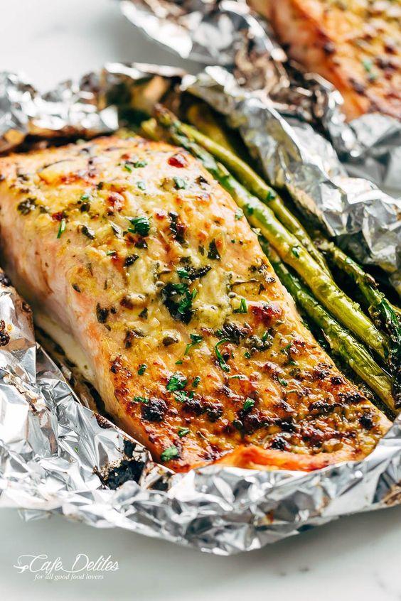 Lemon Parmesan Salmon & Asparagus Foil Packs
