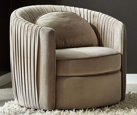 Taupe Pleated Swivel Accent Chair In 2020 Accent Chairs Chair
