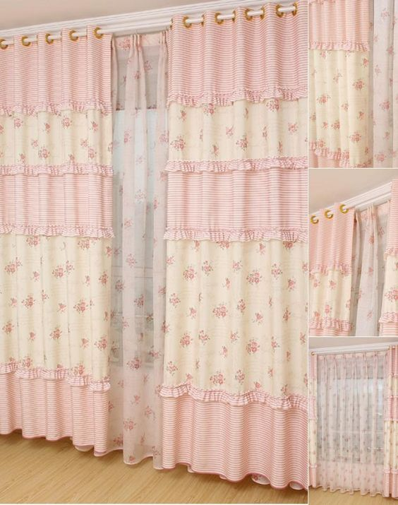Country Floral Patterns Hot Pink Curtains For Girl With Images Shabby Chic Curtains Pink Curtains Shabby Chic Homes