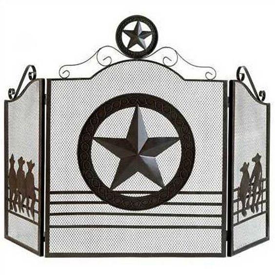 Texas Lonestar Metal Fireplace Screen
