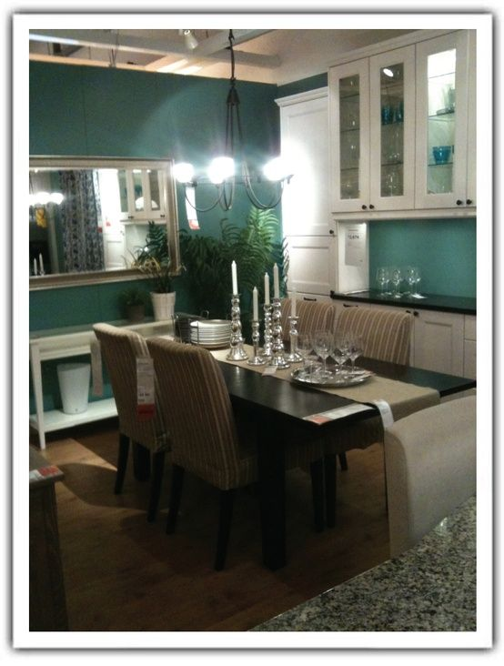 Real walls are pretty new color for the condo paula for Teal dining room decorating ideas