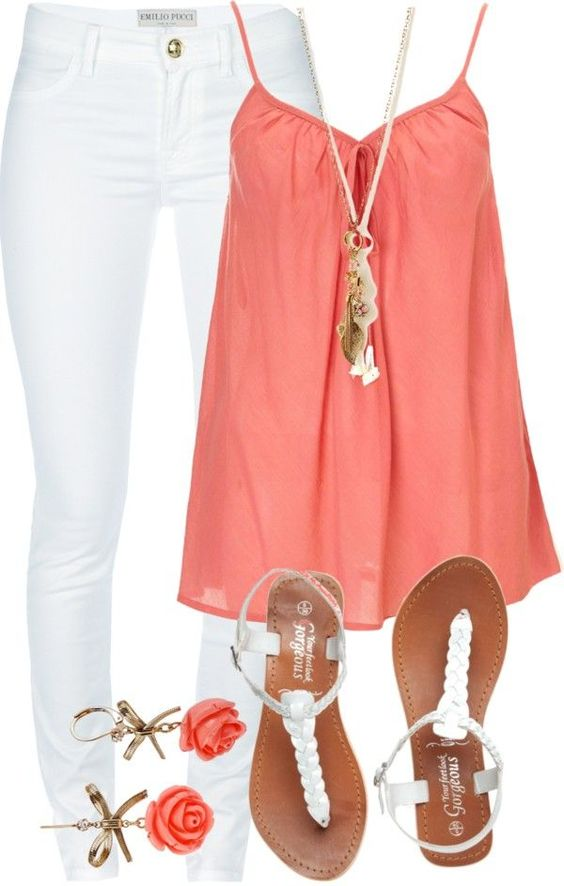 Coral Top with White Jeans for Summer: