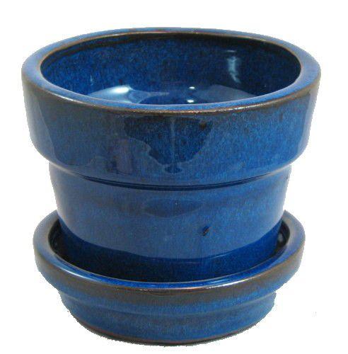 Glazed Ceramic Pot Saucer Blue 4 3 8 X 4 11933 Ceramic Flower Pots Ceramic Plant Pots Ceramic Pot