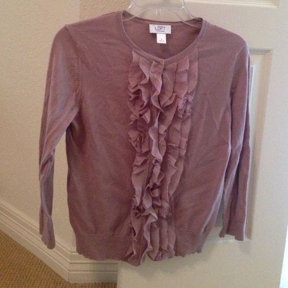 Mauve snap front ruffle cardigan, good condition. Mauve snap front ruffle cardigan, good condition. Sweaters Cardigans