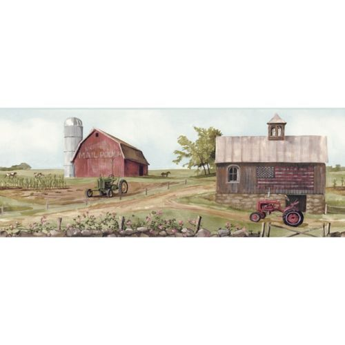 Country farm, Wallpaper borders and Red barns on Pinterest