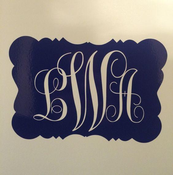 Carlyn Smith Creations Store - Framed Script Monogram Decal, $5.00 (http://www.carlynsmithcreations.com/products/framed-script-monogram-decal.html)