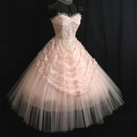 Vintage 50's 50s STRAPLESS Pink Tulle Lace Ribbon Party PROM Wedding DRESS Gown