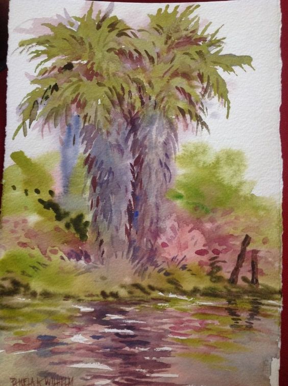 Original Watercolor TWIN PALMS at Rivers End Marina CA Plein Air Pamela Wilhelm #loosewatercolor