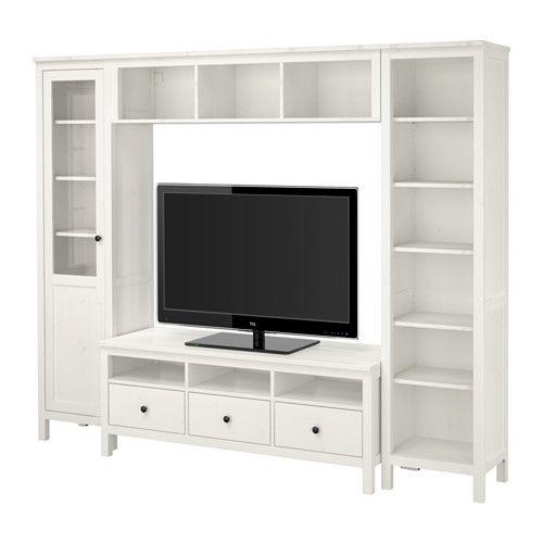 HEMNES TV storage combination, white stain white stain 247x197 cm