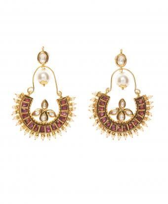 Brass Indian Pearl Diamond Round Earrings