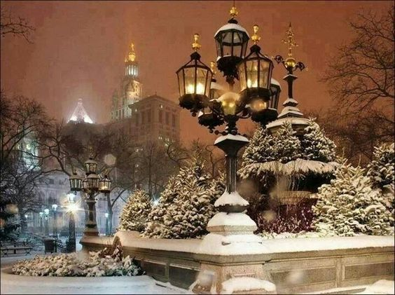 A snowy night in NY City