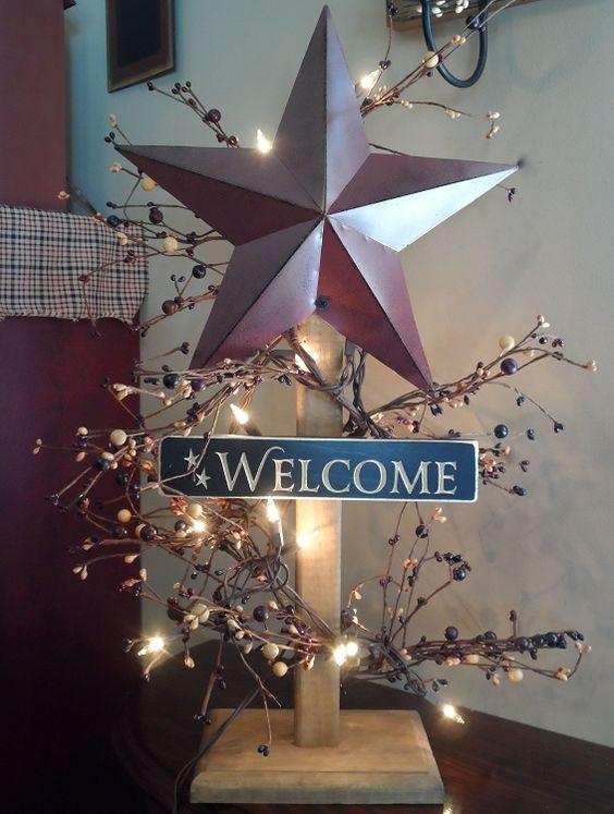 primitive decor pics | home primitive home decor barn star wooden light post primitive decor ...