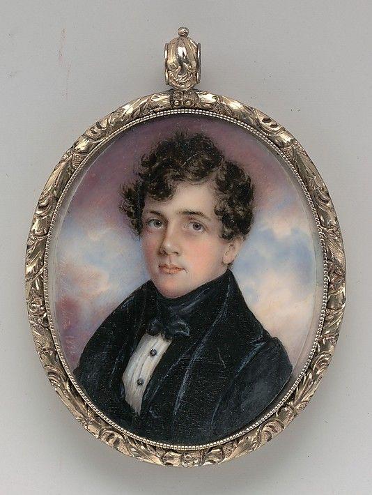 Anna Claypoole Peale, Portrait of a Gentleman 1832 watercolour on ivory in gold foliate locket 2 5/8 x 2 1/16 in:
