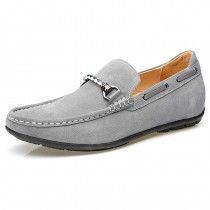 All match elevator boat shoes grey suede leather loafers 2inch / 5cm