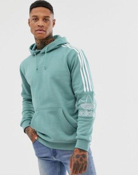 adidas Originals Hoodie With Shoulder 3 Stripes Green #men