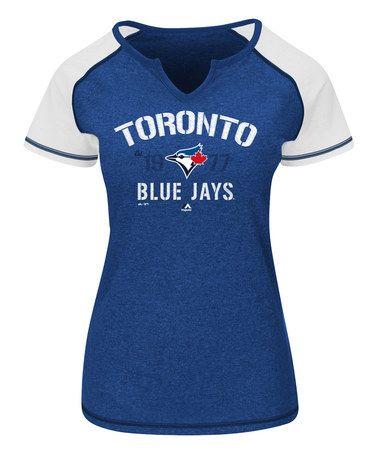 Toronto Blue Jays Off-Shoulder V-Neck Tee - Women & Plus #zulily #zulilyfinds