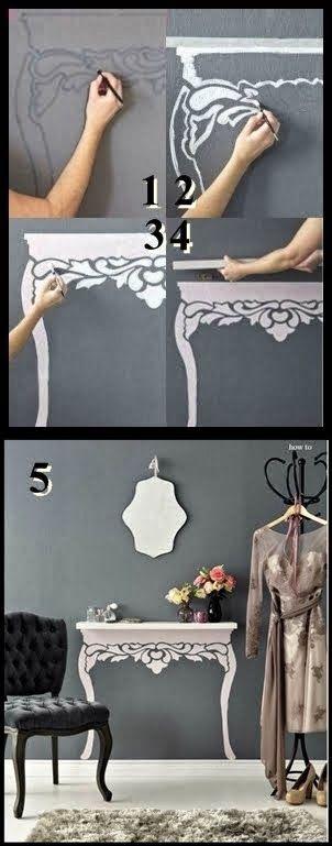"estante sobre os ´pes"" pintados na parede. Grande ideia.."