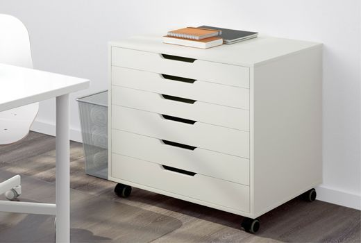 Drawer units can be extremely useful when you need to keep your small things stored in one place where you can easily find them. ALEX has 6 drawers, castors and a white finished back, so that you can move it from room to room and still look good.
