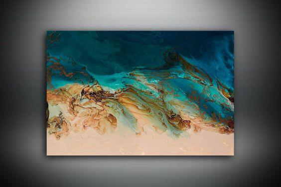 Peinture abstraite grande Print Art Abstrait Art Print, Blue Print Art, grande…