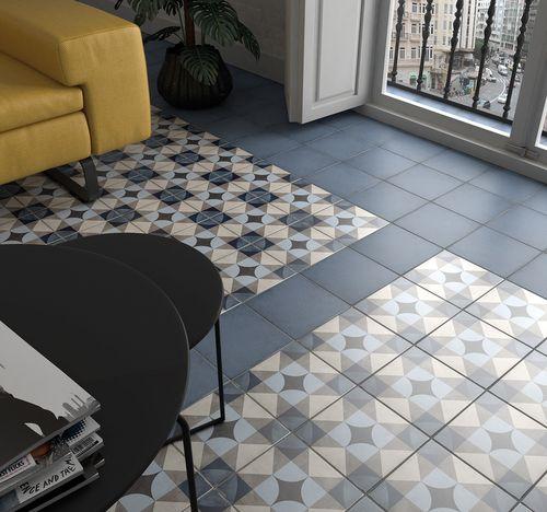 Carrelage Style Ciment 20x20 Cm Art Nouveau Palais Blue 24410