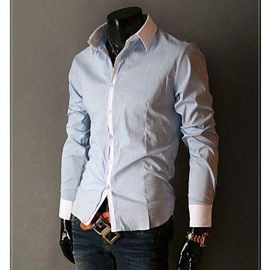Camisa Casual ( Mistura de Algodão ) MEN - Casual Colarinho de Camisa - Manga Comprida – BRL R$ 41,01