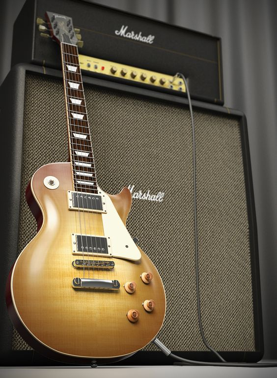 1959 Les Paul reissue lemon burst VOS and old Marshall plexi amp and cabinet.