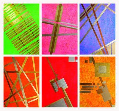 http://www.mahlstedt-kunst.de/ Sechser-Serie A,  Acryl und Blattgold auf Karton, je DIN A4, Dagmar Mahlstedt, Abstrakte Bilder, modern art