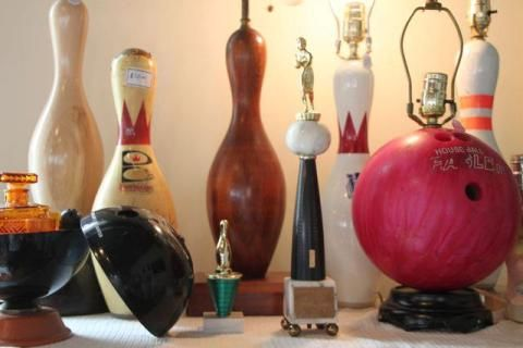 Vintage Bowling themed Lamps!  All regulation size!  All for sale at the Portland Flea-For-All:      http://portlandfleaforall.com/