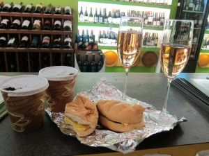 Just anotha Monday in Manhattan. Street cart breakfast with flutes of bubbly.