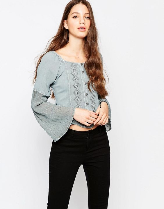 Brave+Soul+Denim+Wash+Long+Sleeve+Top+With+Embroidered+Detail