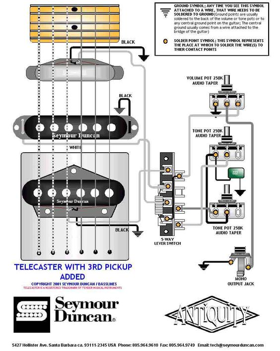 tele wiring diagram with a 3rd pickup added telecaster. Black Bedroom Furniture Sets. Home Design Ideas