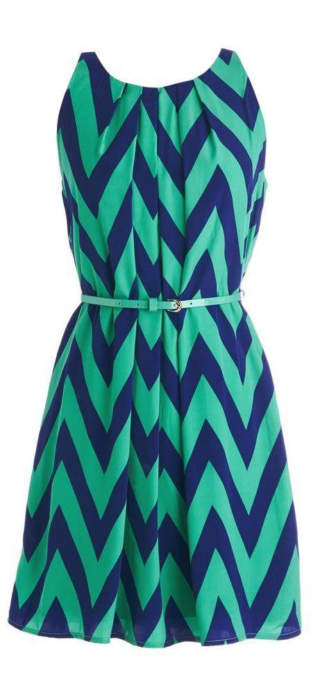 teal + navy chevron zig zag dress