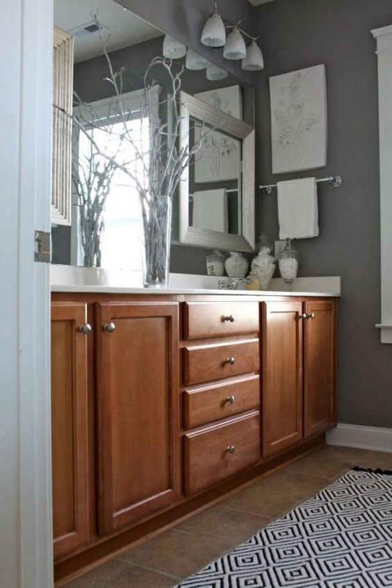 35 Beautiful Kitchen Paint Colors Ideas With Oak Cabinet Page 4 Of 37 Bathroom Wall Colors Gray Bathroom Walls Brown Cabinets