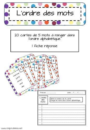 Un petit jeu de cartes spécifiques pour l'ordre alphabétique. - 20 cartes de difficulté croissante: mots avec lettres initiales différentes, puis 2 ou 3 mots avec lettre initiale similaire, puis mots commençant tous par la même lettre... - 1 carte titre...