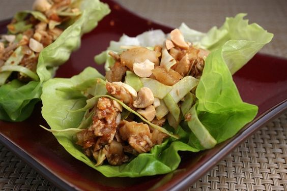 Sweet & Spicy Chicken Lettuce Wraps by recipegirl: Lightly spiced, sweet and crunchy. So pretty and delicious in tender Bibb/Butter lettuce leaves!