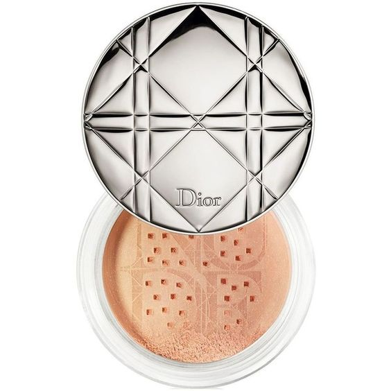 Dior Diorskin Nude Air  Shimmering Loose Powder- 0.56 oz. ($56) ❤ liked on Polyvore featuring beauty products, makeup, face makeup, face powder, summer glow, loose face powder and christian dior